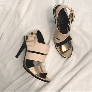 ZARA | Rose Gold Metallic Strappy Heels Size 6